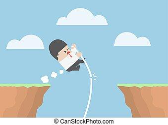 Businessman pole vault across the cliff but he fail, VECTOR,...