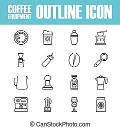 outline coffee icon - set of outline coffee icon, isolated...