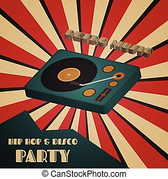disco turntable - disco and hip hop party poster, retro...