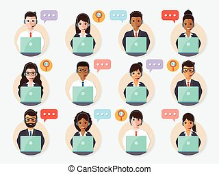 call center people icon - call center and customer service...