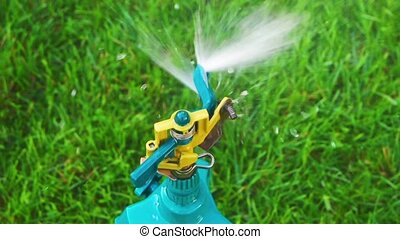 Garden sprinkler slow motion top view. Close up of a...