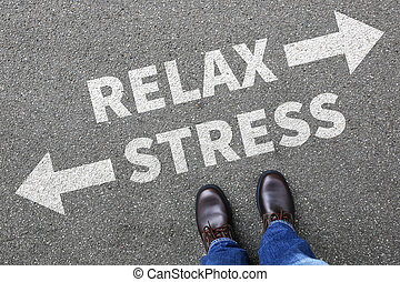 Stress stressed and relax relaxed health businessman...