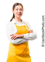 portrait of 30-year-old housewife in yellow apron isolation