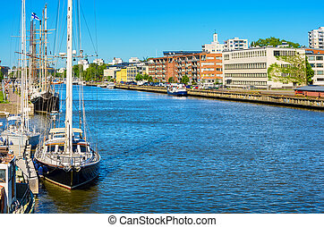Riverside Turku, Finland - View of the River Aura in Turku...