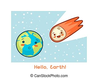 Hello, Earth Kawaii space funny card Doodles with pretty...