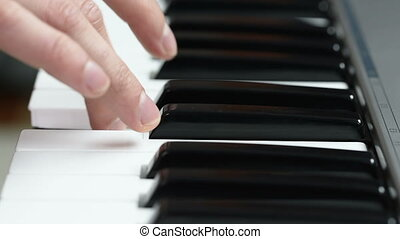 man hands piano playing - Close up of man hands piano...