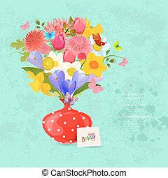Invitation card with bouquet of lovely flowers in a cute red vas