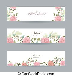 floral invitation cards for your design. with love