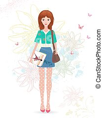 fashion girl with magazines on sketch floral background
