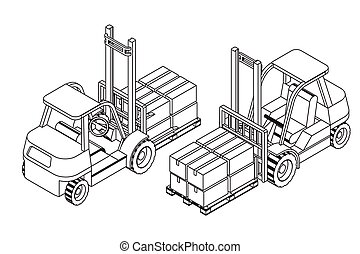 Forklift elevate the pallet with cardboard boxes