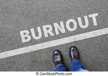 Burnout ill illness stress stressed at work businessman...