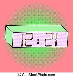 Digital watch pop art vector illustration
