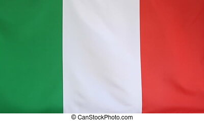 Fabric national flag of Italy moving in the wind
