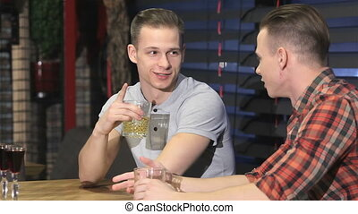 Two twins drinking alcohol at the bar - Two caucasian male...
