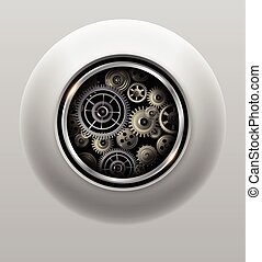 Background 3D gears - Background 3D with technology gears,...