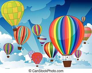 Air Balloons in the Sky - Group of hot air balloons on the...