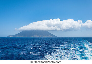 Stromboli island with cloud on the top Italy