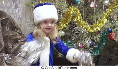 Maiden near Christmas tree - Snow Maiden girl near Christmas...