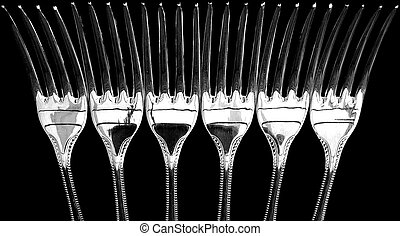 Six Silver-Plated Dessert Forks