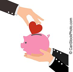 Business Hand Putting Red Heart into a piggy bank