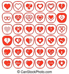 Set of Different Red Hearts Icons
