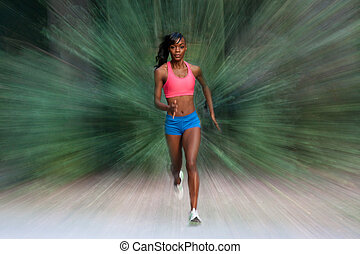 Woman running with blurr - Woman running toward the viewer...