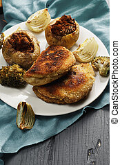 Cordon bleu cutlets closeup - Cordon bleu cutlets and...