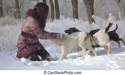 Girl with dogs in forest