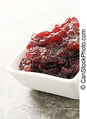 cranberry sauce in white dish