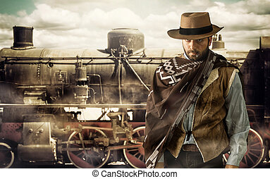 Gunfighter at the train station. - Gunfighter of the wild...