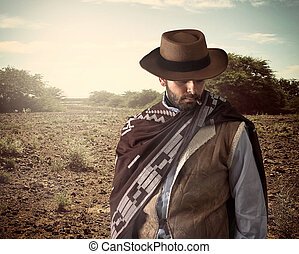 Gunfighter of the wild west with serious and angry...