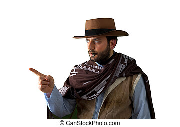 Gunfighter pointing on white background. - Gunfighter of the...