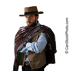 Gunfighter of the wild west on white background.
