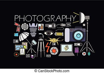 Photography concept for web design template - vector...