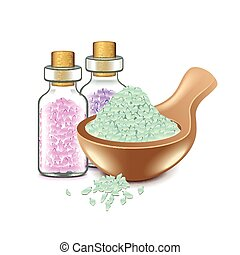 Spa salts isolated on white vector - Spa salts isolated on...