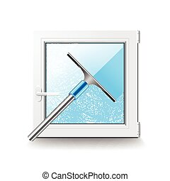 Window cleaning isolated on white vector - Window cleaning...