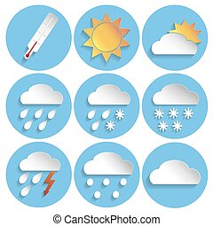 Weather icon set, paper style