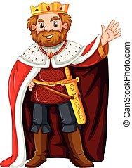 King wearing red robe illustration