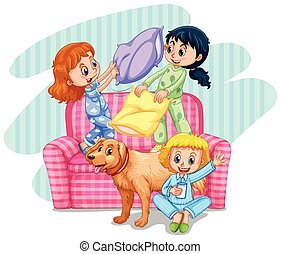 Three girls playing pillow fight on sofa