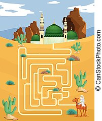 Maze game template with mosque background illustration