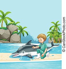 Male vet examining dolpin on the beach illustration