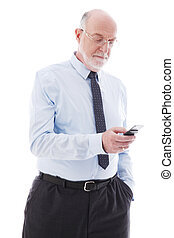 Portrait of mature business man with cellphone isolated on...