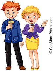 Two news reporters with microphones illustration