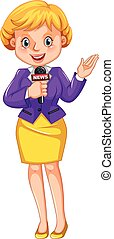 Female reporter reporting news illustration