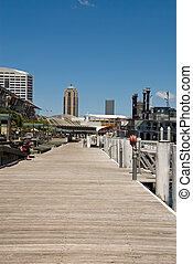 Inner-City Boardwalk - An inner-city boardwalk adjacent to...