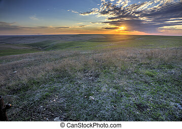 Flint Hills sunset, Kansas - early spring sunset in the...