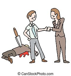 man getting a promotion by backstabbing his co-worker - An...