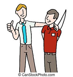 employee backstabbing manager - An image of a employee...