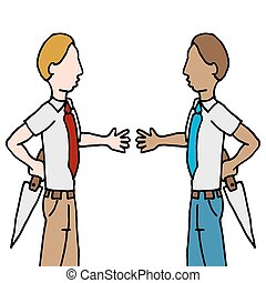 businessman and shake back stabbing - An image of a...