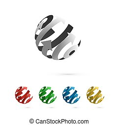 Set of Abstract Globe Rotating Arrows